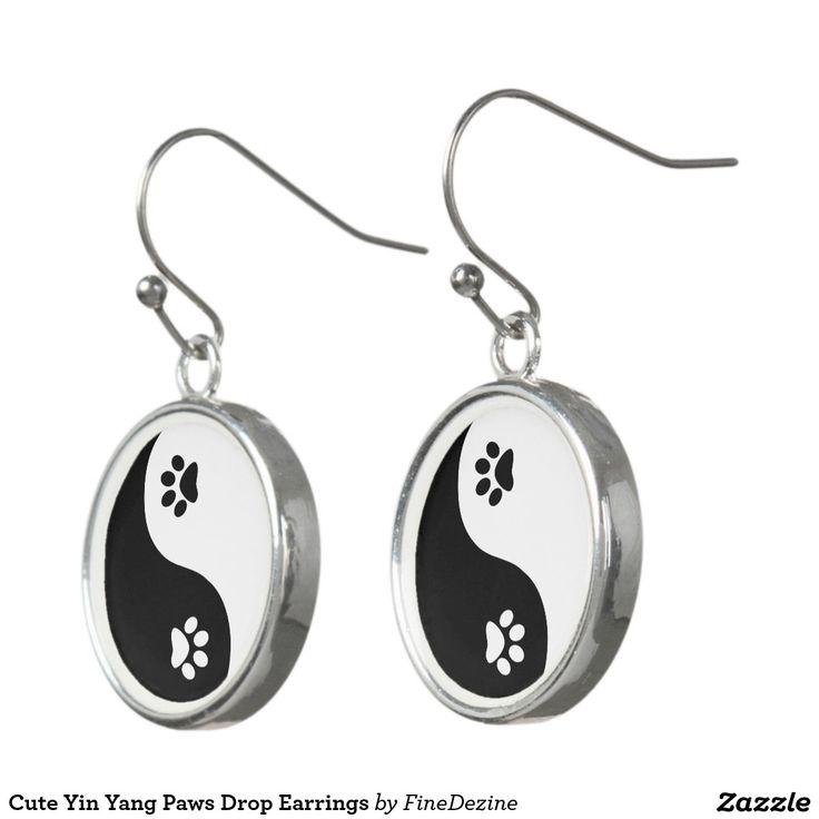 Cute Yin Yang Paws Drop Earrings