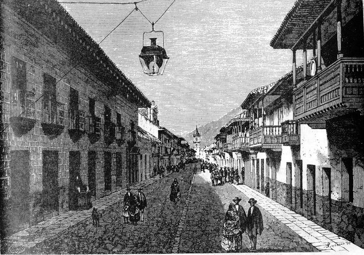 The Royal Street, today known as the Seventh Avenue (Carrera Séptima) | Calle real de Bogotá en 1869 dibujo de Therond - Bogotá - Wikipedia, the free encyclopedia