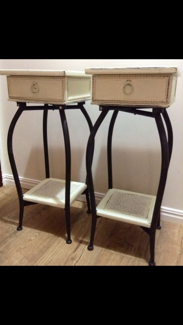 Unique wooden and cast iron side tables. Feels fee to inquire.