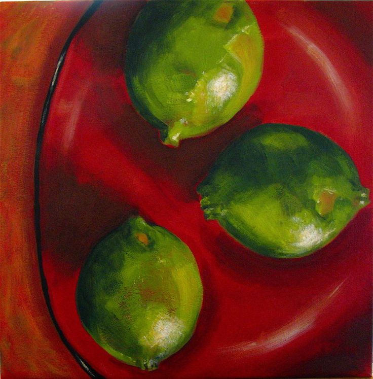 Kim Blair Three Limes On Red Plate Painting