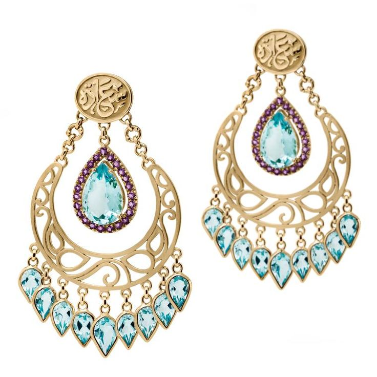 Azza Fahmy Wonders of Nature blue topaz chandelier earrings in gold. http://www.thejewelleryeditor.com/jewellery/article/azza-fahmy-wonders-of-nature-jewellery-collection/ #jewelry