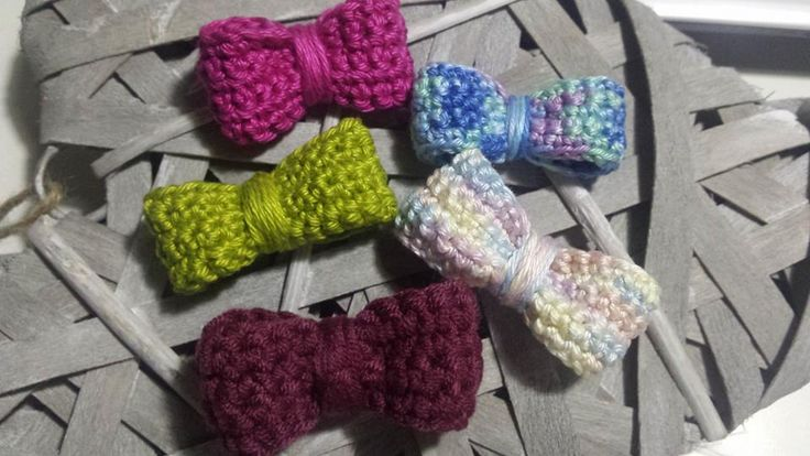Colorful bows.  Necklace with crochet bow. Handmade jewellery. Perfect gift.  Also, a beautiful bow tie for 2 little gentleman.