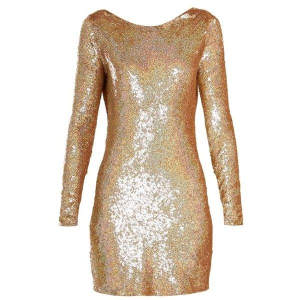 Ashish Cowl-back sequin-embellished long-sleeved dress ($2,270) ❤ liked on Polyvore featuring dresses, gold, gold dresses, sparkly cocktail dresses, long sleeve dress, sequin dress and long sleeve sequin cocktail dress