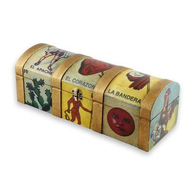 Novica Mexican Lottery Game Wood Decorative Box