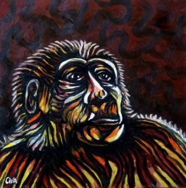 "Saatchi Art Artist Dan Civa; Painting, ""Chimpanzee portrait (chimp 6)"" #art"