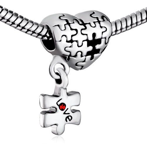 Pugster Puzzle Heart Dangle Love Red Crystal Charm Beads Fit Pandora Charm Bead Bracelet $12.49 #topseller