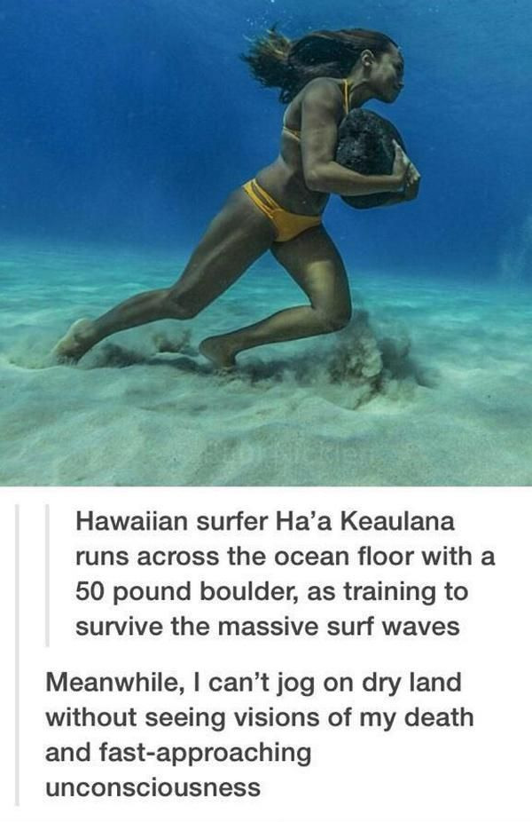 Hawaiian Surfer Ha'a Keaulana runs across the ocean floor with a 50 pound boulder, as training to survive the massive surf waves.