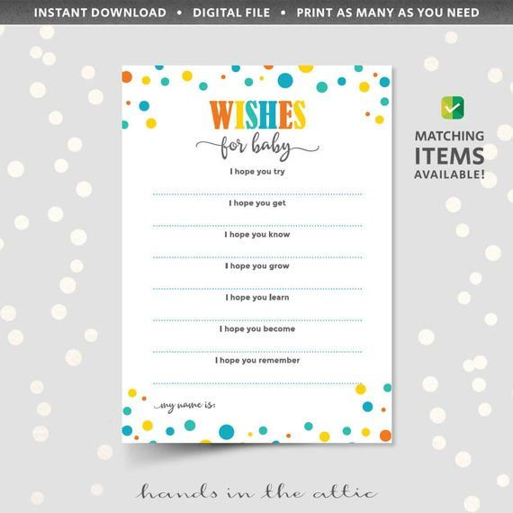 wishes for baby printable template baby shower party games and