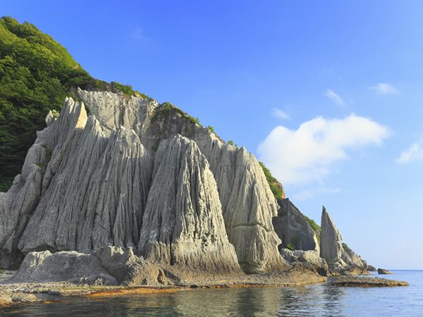 下北半島西岸の佐井村に位置する「仏ヶ浦」は、国の天然記念物にも指定される絶景の地。およそ2km以上にわたって白緑色の断崖が連なる景観は、約2,000年前の海底火山活動によって形成されたと伝えられています。長い間、地元の限られた人々だけが知る場所だったこの名勝には、「如来の首」や「五百羅漢」、「蓮華岩」などと称される神秘的な巨岩・奇岩が点在。その美しさを体感するなら、佐井港から発着する観光船を利用するのがおすすめです。