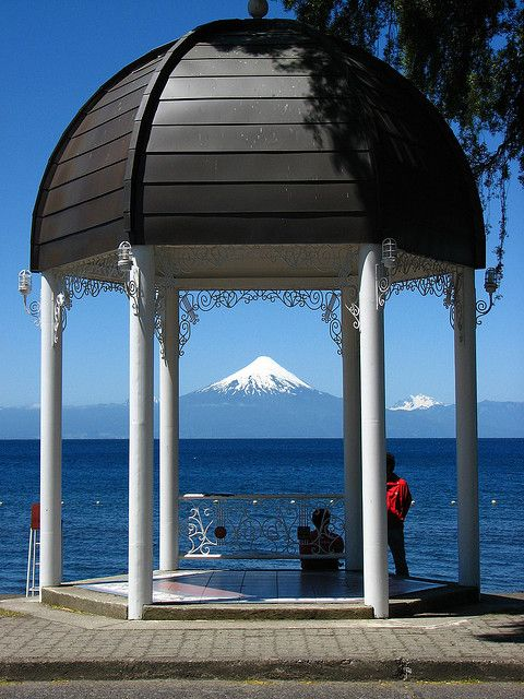 Frutillar on a clear day! Llanquihue lake. Osorno volacano and the tip of Tronador mountain.Chile