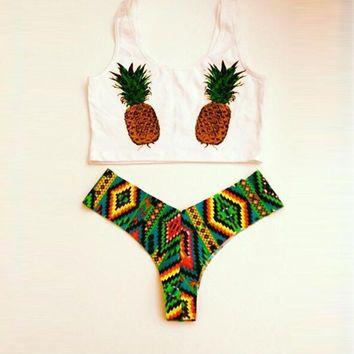 high waist bathing suits Pineapple print kiini bikini tie dye bikini 2016 high neck bikini crop top swimsuit biquinis fio dental