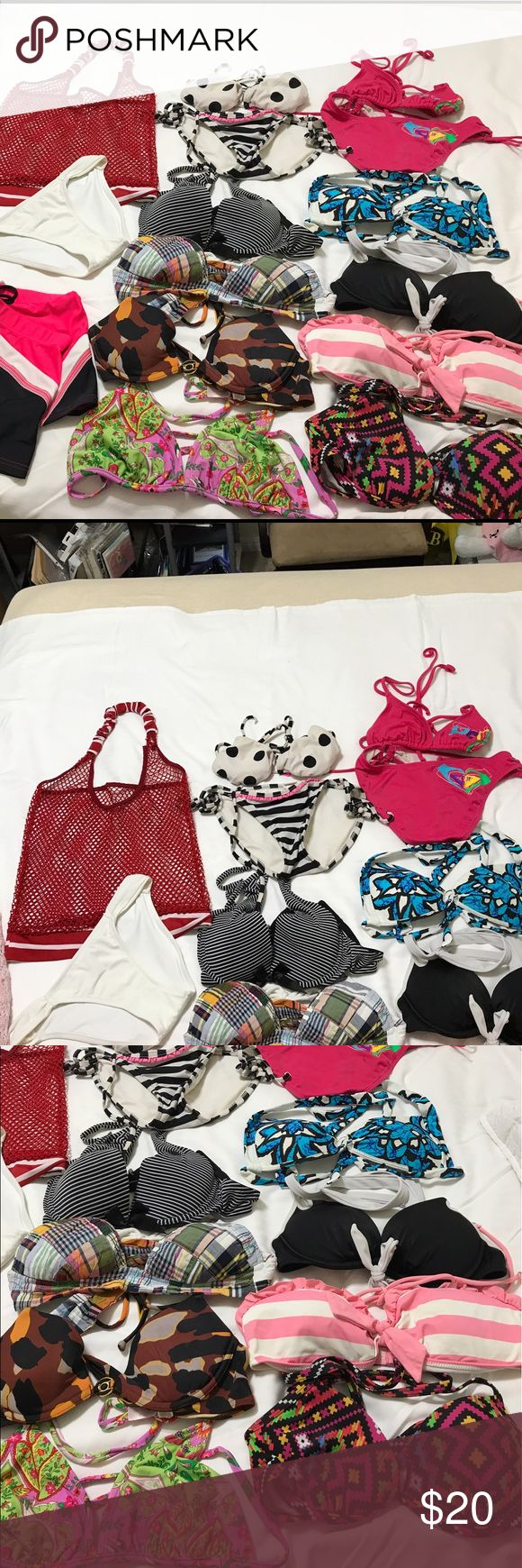 BUNDLE Victoria Secret & Other Bikini Top&Bottoms 8 Tops, 2 matching sets (Roxy in pink & white & black Xhiliration), 1 VS xs white bottom, 1 black/pink ZeroExposur skirt, 1 red halter top, 1 light pink cover up - 15 ITEMS TOTAL - tops are all XS/S size - all are halter top style (tie at the neck (white & pink stripes top can be worn as tube top, gilly chicks Small) -can add more info if needed 👍 PayPal is an option Victoria's Secret Swim Bikinis