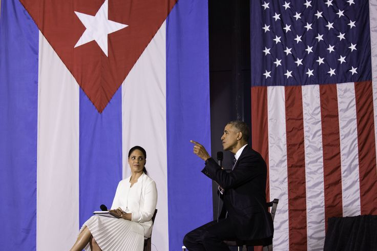 President Barack Obama participates in a question and answer session at an entrepreneurship event with Soledad O'Brian at La Cerveceria in Havana, Cuba, March 21, 2016.