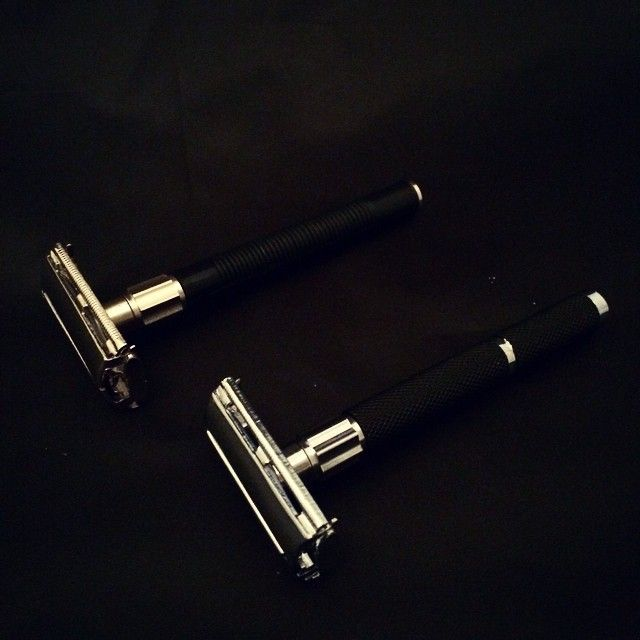 Black butterfly DE razors - One is lightweight, one is medium weight, both nice tight shaves. #wetshaving #shavelikeaman #grooming #dapper #beardsareso2014 #beards #slick #style #manstyle #manlystuff