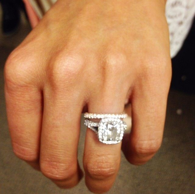 Catherine Lowe's Neil Lane cushion cut engagement ring