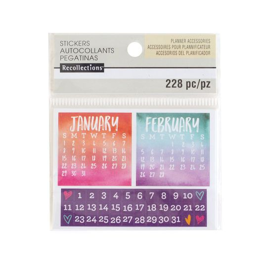 Watercolor Mini Calendar Stickers By Recollections