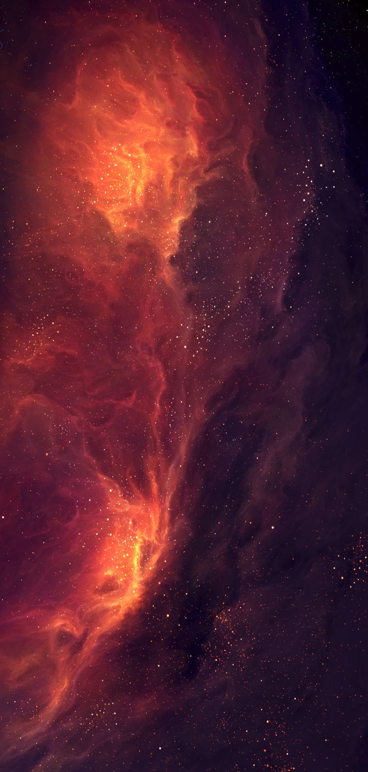 iOS 11, iPhone X, black, orange, fire, space, stars