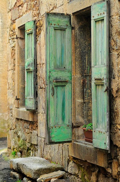 shades of worn pale green.