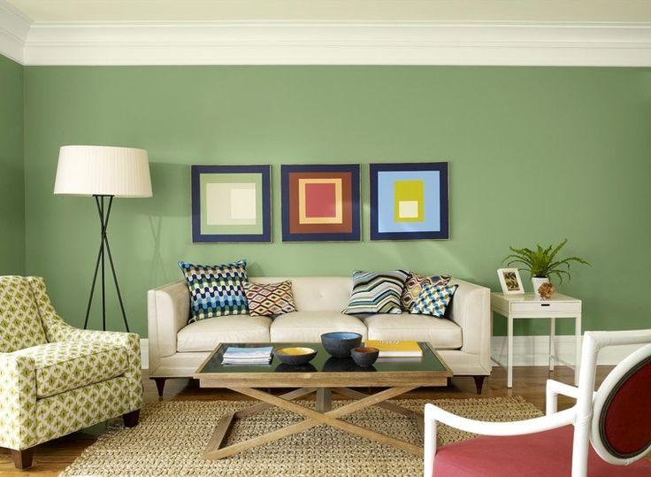decoraciñon de paredes de salón de color verde