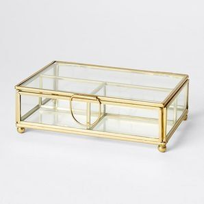Showcase your jewellery, trinkets or knik-knaks in a novel way with this vintage inspired brass and glass jewellery box, with three separate...