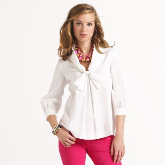 twist on the classic white shirt: Spade Artists, Spade Shirts, White Shirts, Spade Outfitabsolut, Artists Shirts, White Blouses, Kate Spade, Really Cute Outfits, Hot Pink Pants