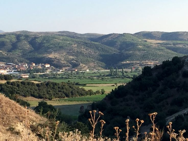 Beautiful fertile lands with Gediz River snaking through, Kula Geopark, Turkey