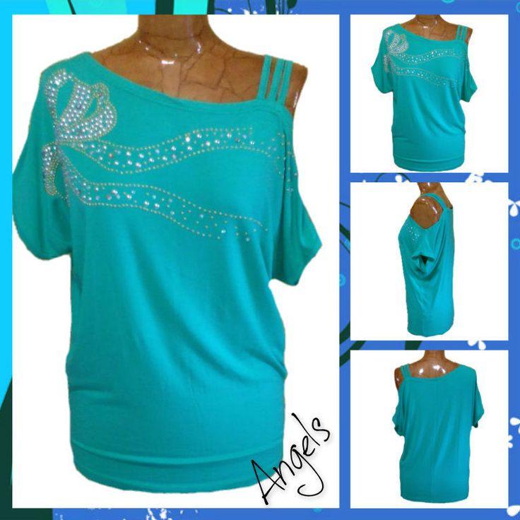 Top monospalla canotta  donna sottogiacca maglietta  nuova colori moda azzurra