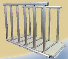 ARTICULATING STEPS  • Maintenance-free, self-adjusting staircase rotates from 0 to 60 degrees.  • Suitable for land or water; used on docks, decks or gangways.  • Treads remain flat and level over entire range of motion.  • Pivot hinge allows the ladder to be easily retracted and removed from the water when not in use.  • Five, 7 and 9 step standard models.  • Up to 30' length available.   • Marine-grade aluminum framing and plastic bushing for durability and corrosion resistance.