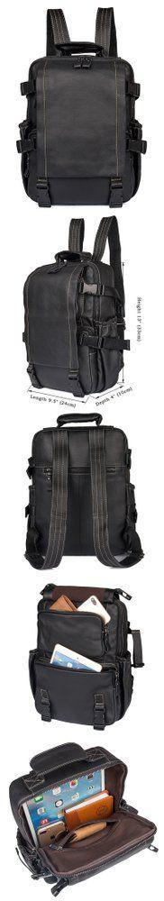 Retro Cow Leather Men's Computer Shoulder #backpack  Bag Travel Bag B61