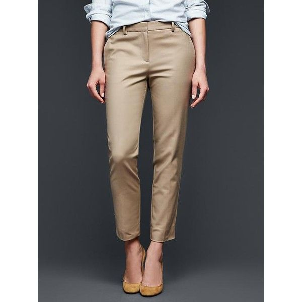 Gap Women Slim Cropped Pants (92 NZD) ❤ liked on Polyvore featuring pants, capris, chino academy, tall, petite crop pants, slim leg pants, tall pants, slim pants e fitted pants