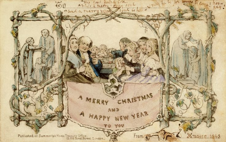 In 1843, Henry Cole, the V&A's founding director, sent the world's first Christmas card.The words printed on the card were 'A Merry Christmas and a Happy New Year'.  Greetings card, John Callcott Horsley, 1843