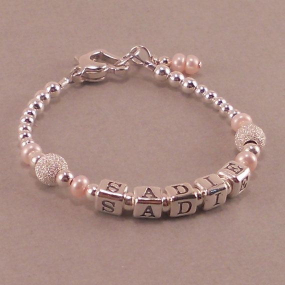 beaded gift childrens birthday little bracelets for present names jewelry personalized pinterest baby pearls anya bracelet first pink sterling girls name on gifts images infant best silver girl