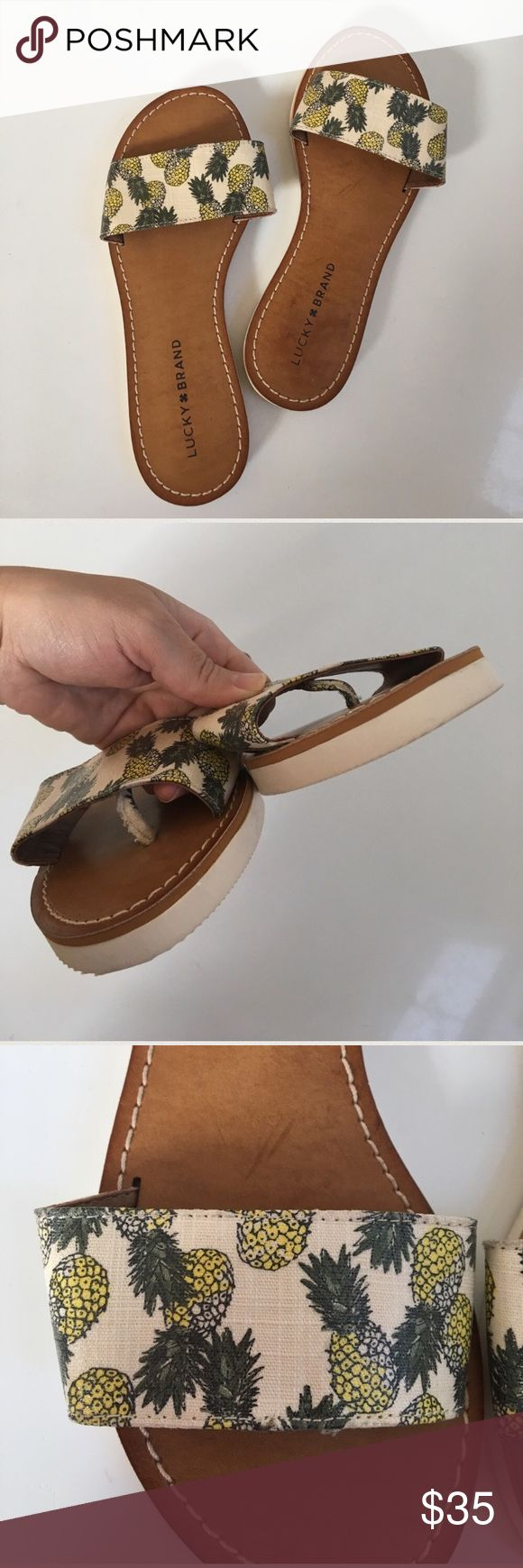 NWOT { Lucky Brand } Pineapple slipper sandal Lucky Brand Pineapple Sandals, slip on with toe separator, in great condition new but has mild stick on right back from tag sticker and left shoe has small prick sized red shown see picture not noticeable on). These are so adorable! Lucky Brand Shoes Sandals