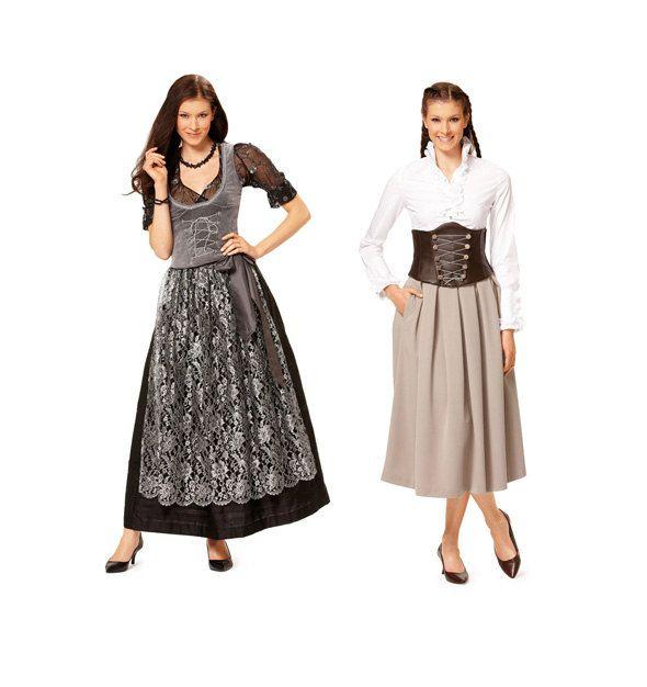 DIRNDL DRESS PATTERN & Apron Corset Dress Lace-Up Waist Cincher Vest ...