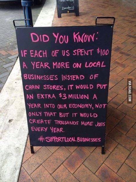 Support Local Businesses. This is about knowing where you shop and how it effects your community directly. I am a member of Amazon Prime and before this class, I didn't realize that it may be taking away from people in my county and sending the money to others, as the mom and pop stores are slowly slipping away.