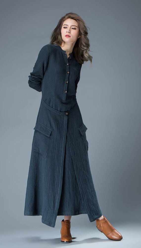 Navy Blue Linen Dress Layered Fit & Flare Long Maxi by YL1dress