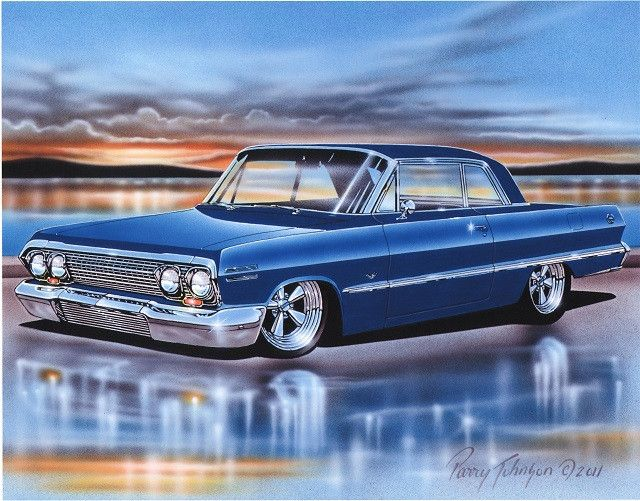 1963 Chevy Impala 2 Door Hardtop Classic Car Art Print 11x14 63