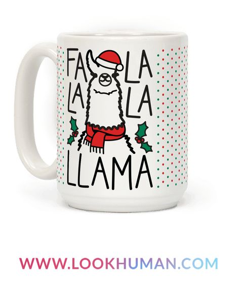 Spread some Christmas cheer this holiday season with this holiday mug design featuring the text 'Falalala Llama' and a festive sing-a-long christmas llama. Perfect for holiday parties, christmas dinner, and holiday family gatherings!