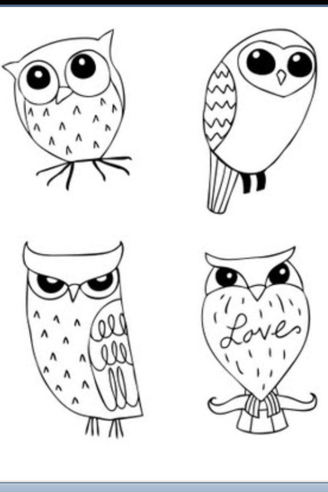 Картинки для срисовки в личный дневник совы