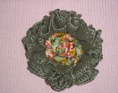 Olive-green felt flower brooch with chintz silk