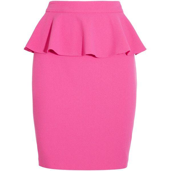 Peptol-Bismol pink, yet it works. Alice + Olivia Crepe peplum skirt found on Polyvore