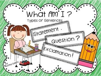 Learning to identify the different kinds of sentences, (statements, questions, exclamations) can be hard for first and second graders. This freebie provides practice in recognizing the kind of sentence each group of words is and practice in writing them correctly using the punctuation mark.