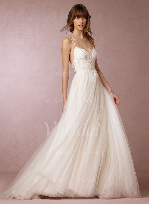 A-Line/Princess Sweetheart Sweep Train Tulle Lace Crossed Straps Spaghetti Straps Sleeveless Church Beach Hall Garden / Outdoor Reception No Spring Summer Fall Ivory White Wedding Dress