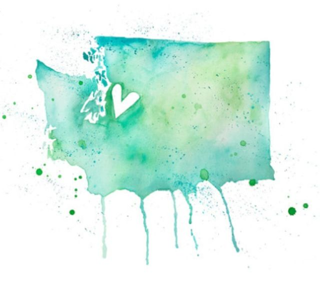 Washington state watercolour. I'd love to have this as a tattoo :) but I would move the heart closer to vancouver