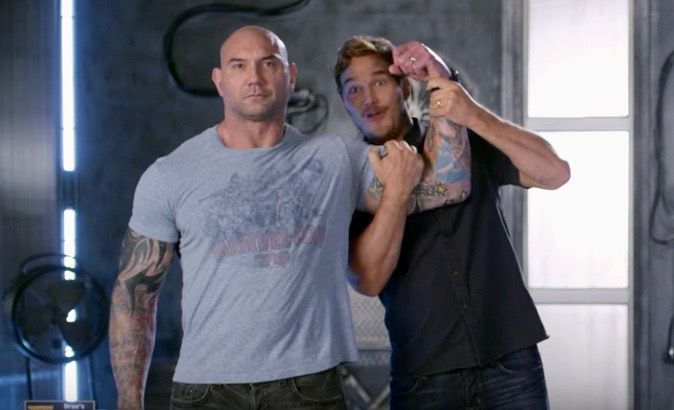 """Actor Chris Pratt explains why fellow actor Dave Bautista is the coolest prop in """"Guardians of the Galaxy Vol. 2."""""""