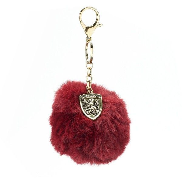 Harry Potter Faux Fur Pom-Pom Key Chain (£7.41) ❤ liked on Polyvore featuring accessories, grey, fob key chain and pom pom key chain