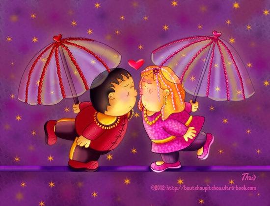 Sur le fil de l'amour. Illustration pour un calendrier numérique : http://e-ditionslabelvie.com/amember/aff/go?r=38=4