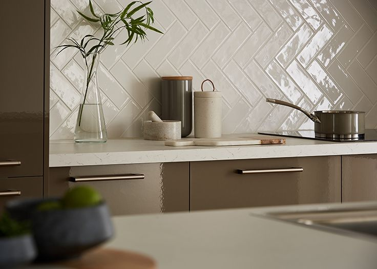 Beautiful Kitchen Tile Ideas Uk Part - 9: Herringbone Tiles Create A Stylish Look In This Modern Kitchen. Be Inspired  By Howdens.