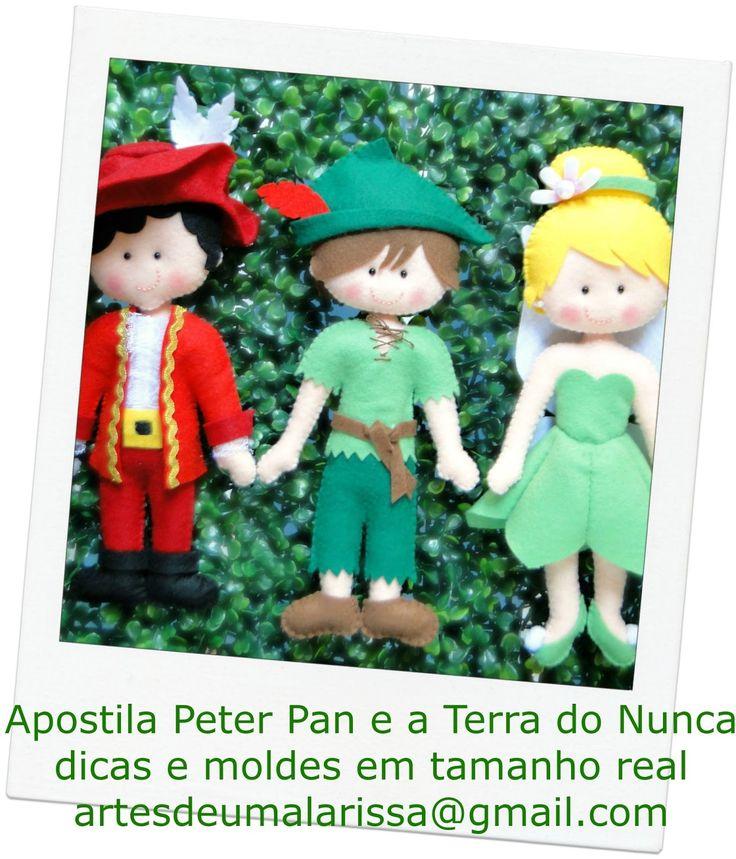 Apostila Peter Pan e a Terra do Nunca  Bonecos Peter Pan, Sininho e Capitão Gancho.. dicas e moldes digitalizados em ...