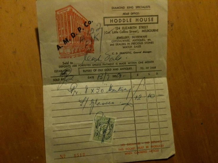 A 1959 receipt from Hoddle House